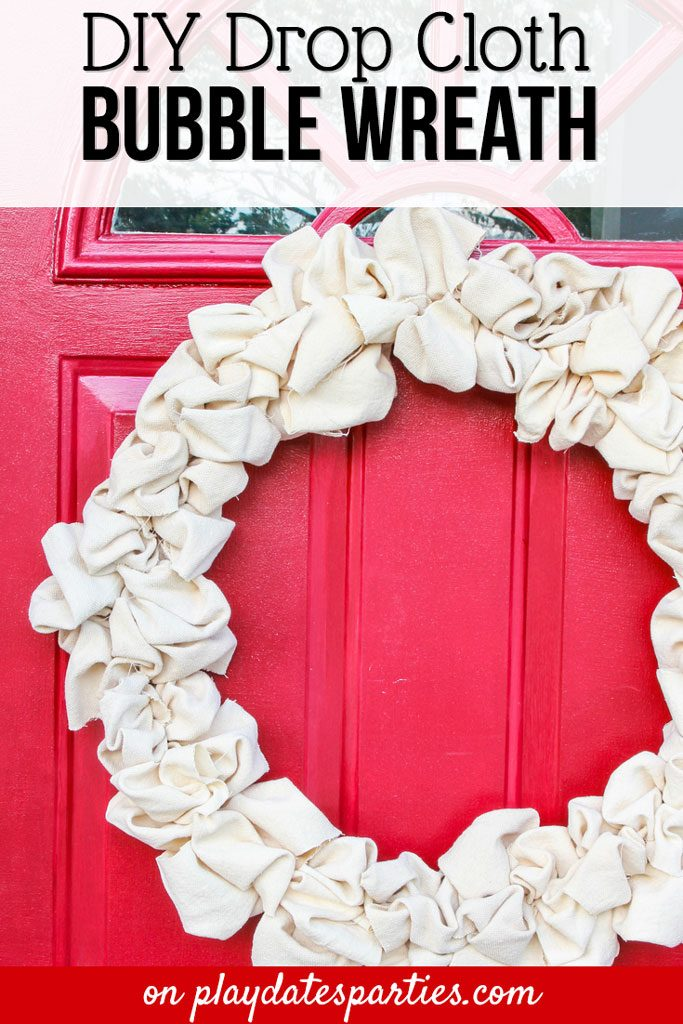Make an easy canvas drop cloth wreath for your front door. It's the perfect easy DIY project to update for all seasons.