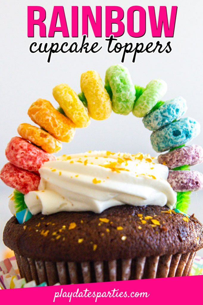 Can't you just see these fun DIY rainbow cupcake toppers at a Wizard of Oz or unicorn birthday party? Plus, they're so simple that kids can make them too! Hop on over for all the details on how to make this cute decoration food safe so you can start topping all your desserts! #rainbow #partyideas #kidsparties