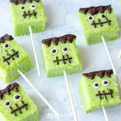 cake pops shaped like Frankenstein for a Halloween party treat