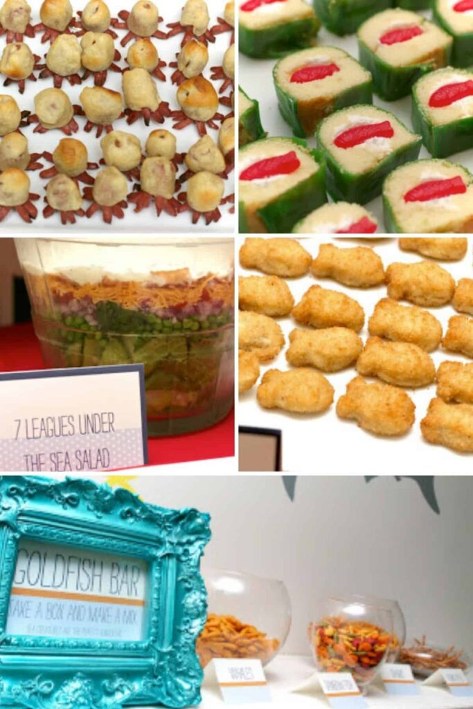 collage of ocean themed party food including candy sushi, hot dog octopus, salad, fish sticks, and goldfish bar