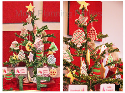 closeups of Christmas tree with sugar cookie ornaments