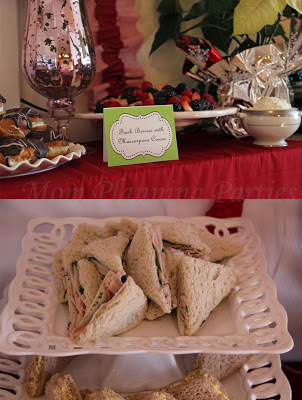closeups of tea sandwiches and buffet cards