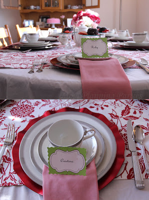 red and pink dining table
