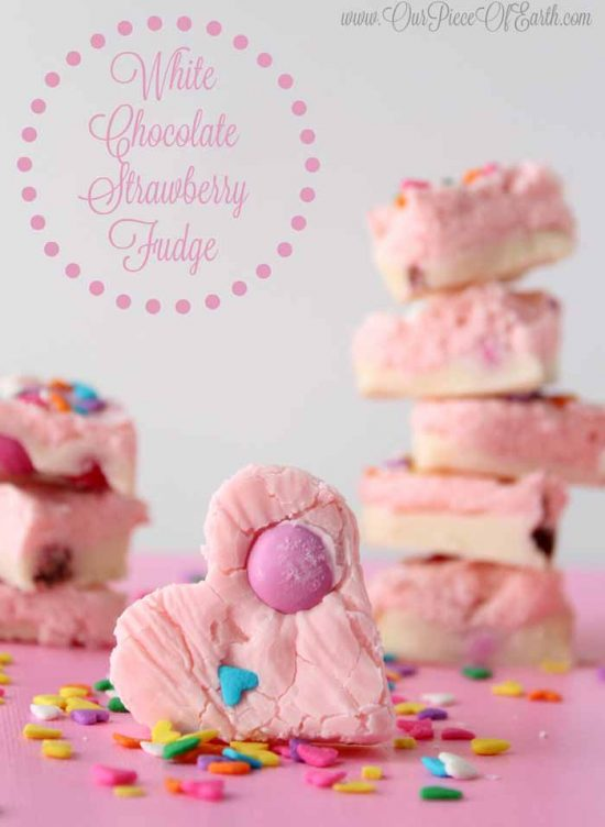 Heart Shaped Chocolates Treats: White Chocolate Strawberry Fudge