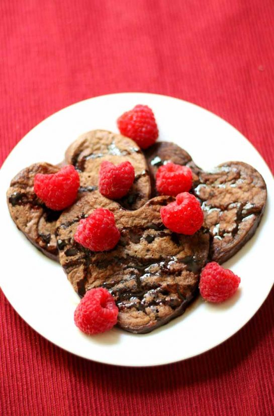 Heart Shaped Chocolate Raspberry Pancakes