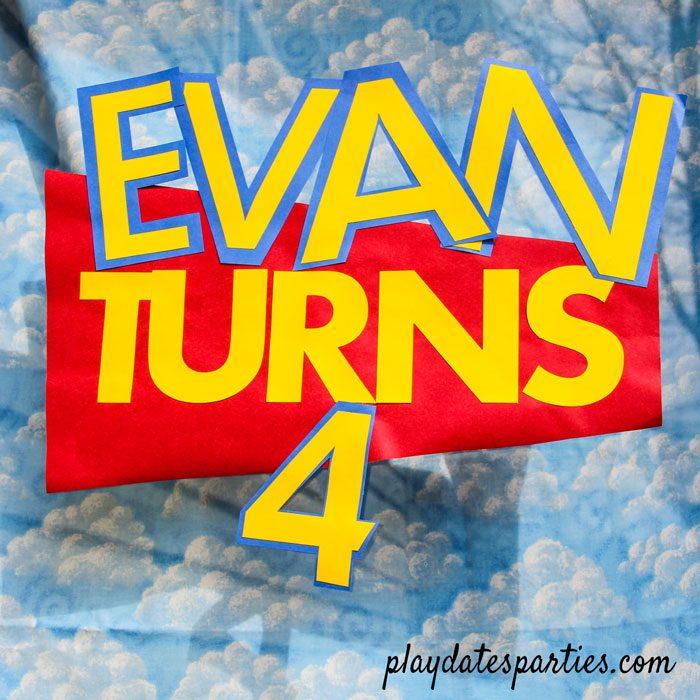 toy story birthday logo Evan Turns 4