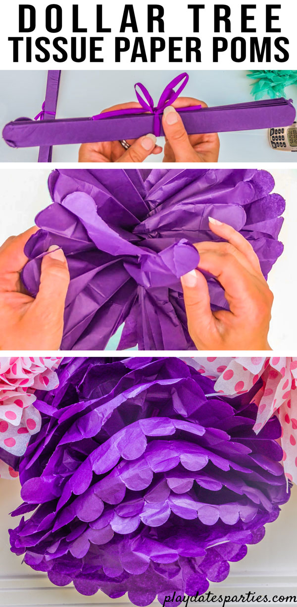 Showing Dollar Tree tissue paper pom poms as they look out of the package, that one came with a rip, and that they don't look best when opened as a sphere