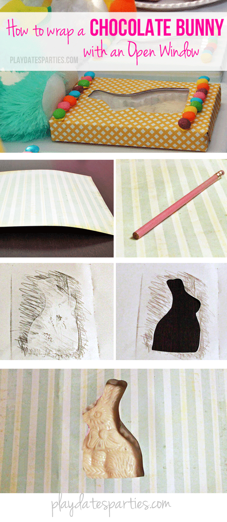 Don't get stuck with the ugly box around your chocolate bunny. Follow these steps to create your own bunny wrapper with your favorite paper.