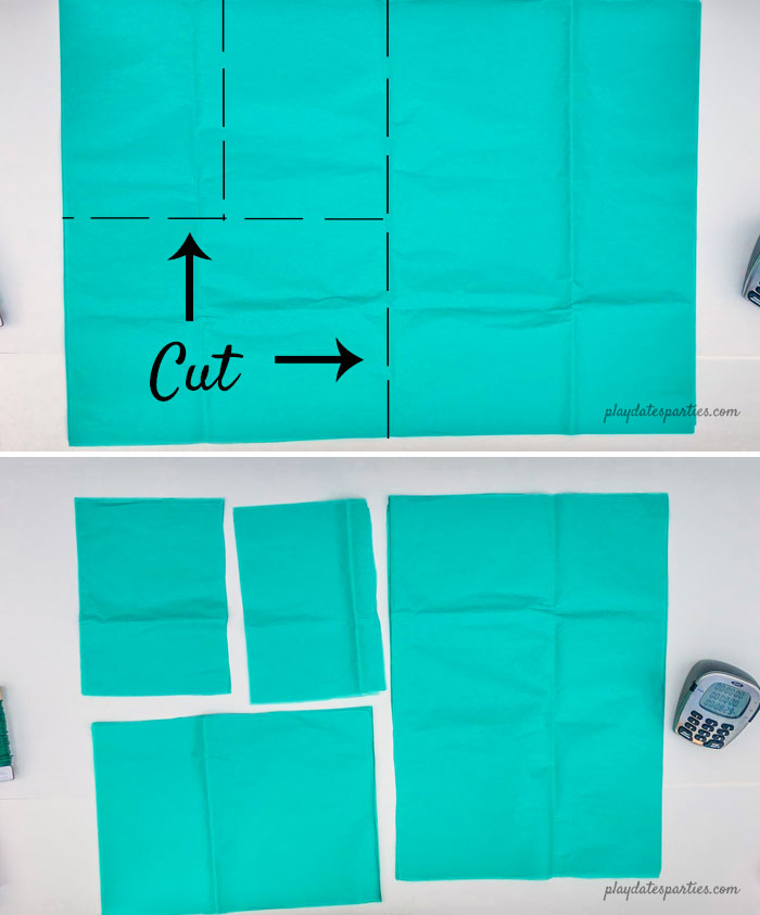 Where to cut tissue paper to get 4 pom poms from one stack