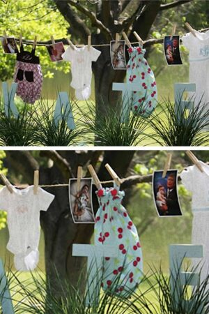 collage of two photos showing baby clothes and baby pictures on a clothesline with large blue letters in front