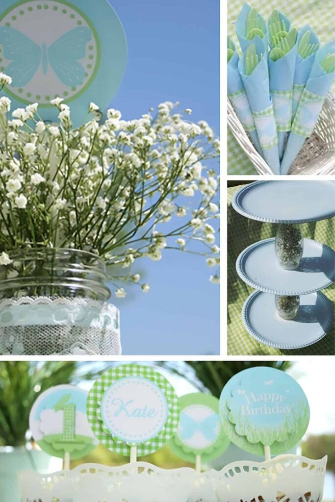 collage of DIY garden party decorations in green and blue for a first birthday