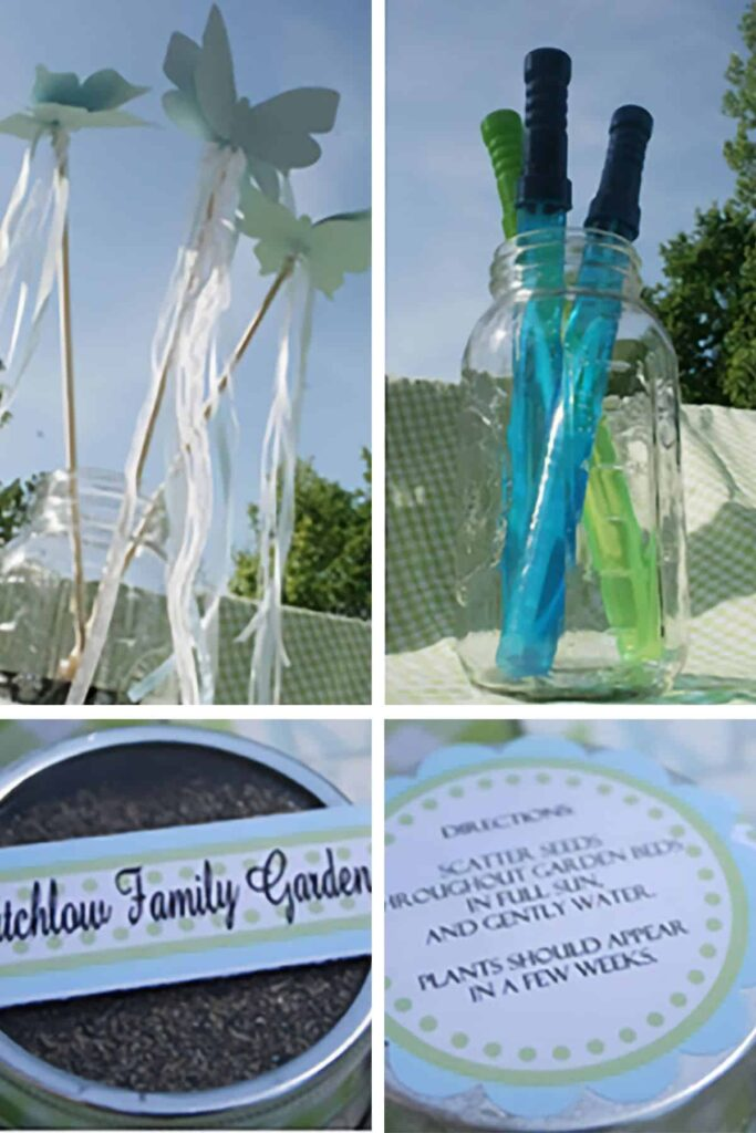 collage of party details including butterfly wands, bubbles, and flower seed tin party favors