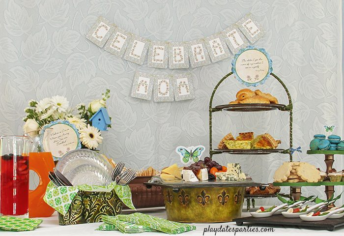 Garden Inspired Mother's Day brunch ideas in blue and green