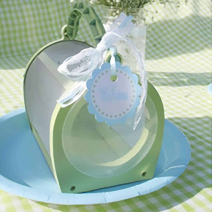 photo of a kids bug catcher toy painted green on a blue plate with a gift tag tied to the top