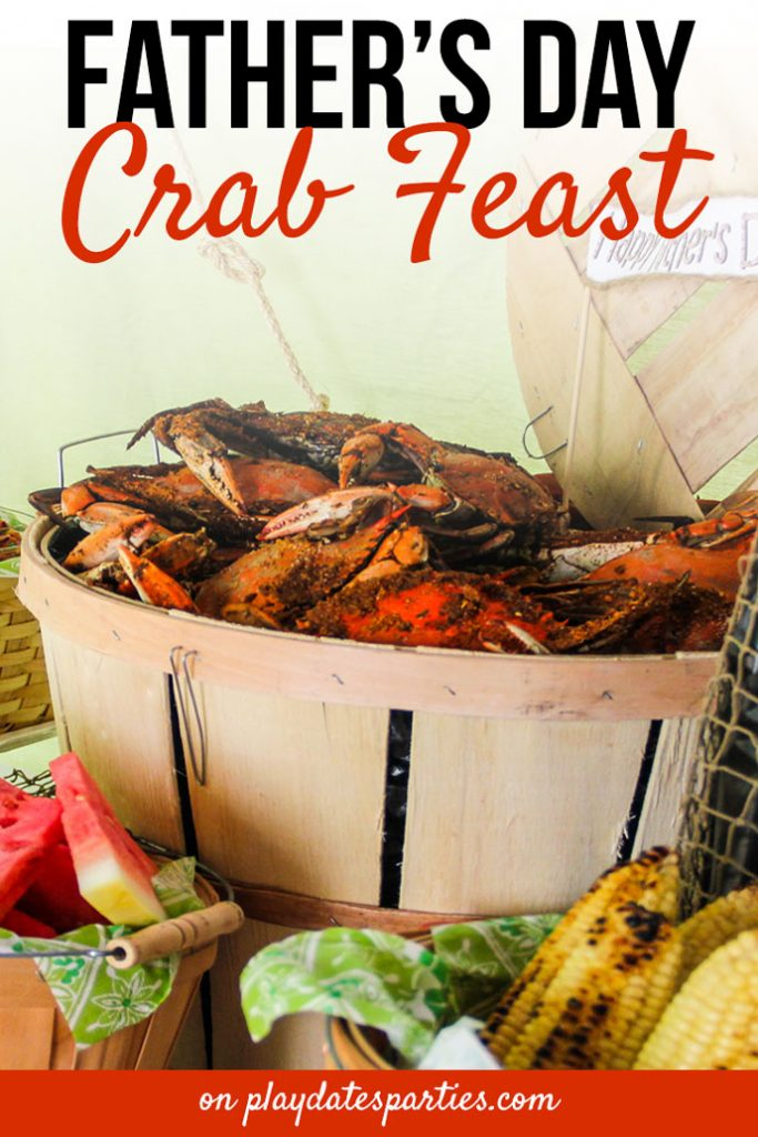 Make Father's Day extra special with a crab feast! Head over to playdatesparties.com for the full party menu, party decorations, and tips for hosting your own modern crab feast.