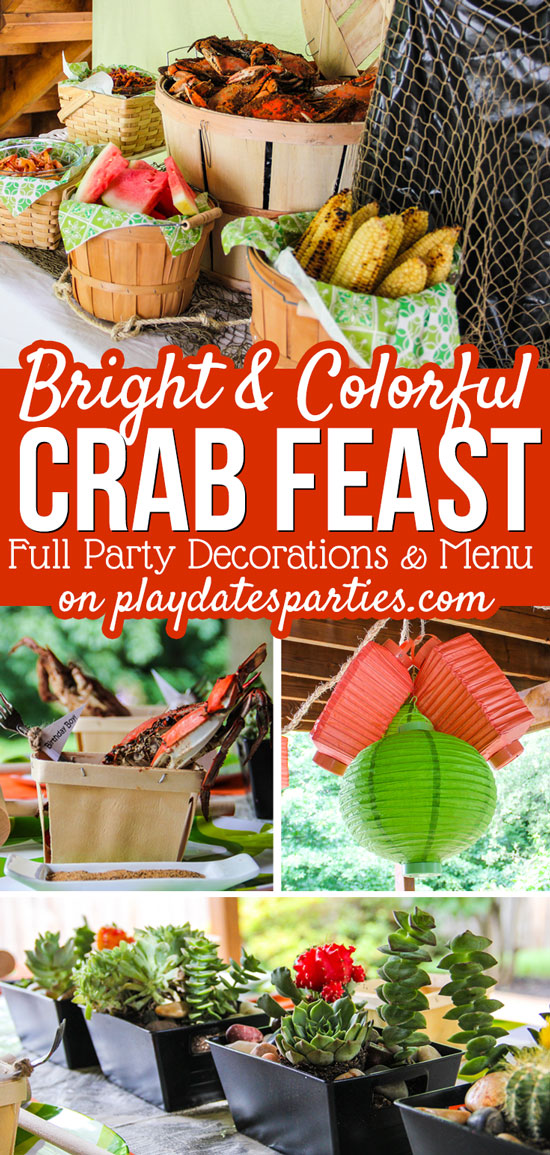 Host the BEST CRAB FEAST ever with these bright and colorful party ideas. Including party decorations, an easy party menu, and plenty of fun extra touches. #partyideas #summerparties #marylandcrabs #pdpcelebrates
