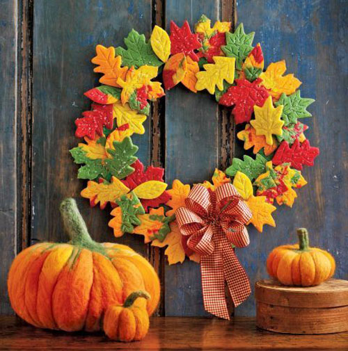 Colorful leaves are classic fall decor. This cookie leaf wreath is a delicious and clever way to add color to your front door.