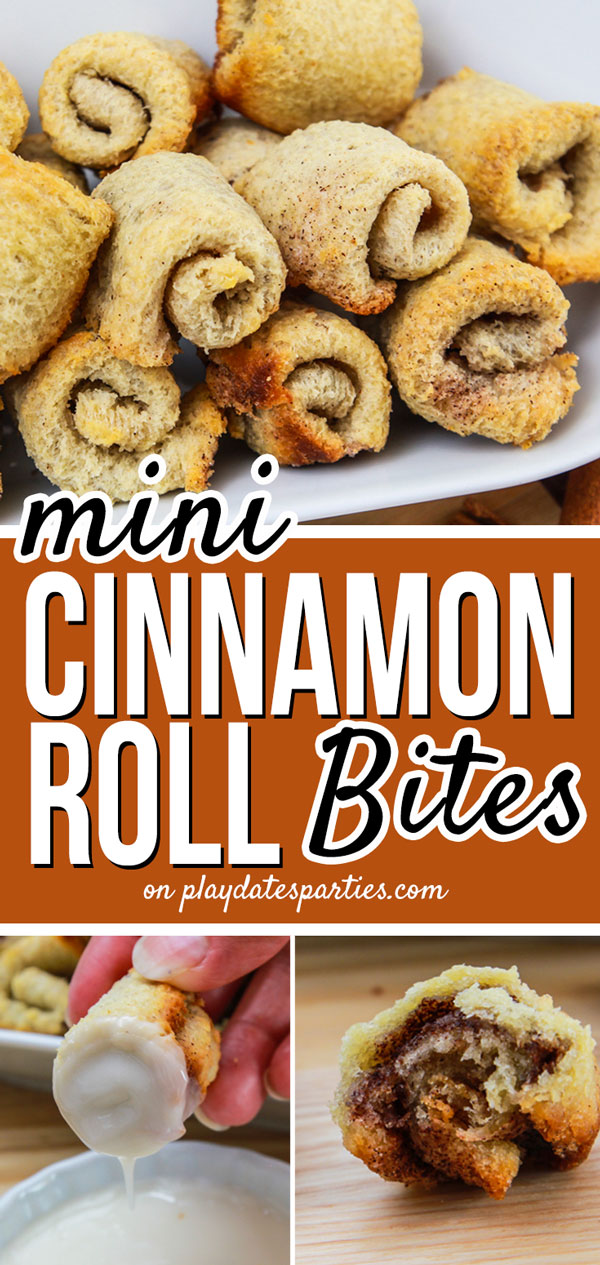 Mini cinnamon roll bites with a dipping glaze are the perfect treat for your family breakfast. With no yeast required, you can enjoy them now or freeze for for a quick make-ahead snack! #cinnamon #breakfast #brunch #food #recipes #easyrecipe #pdpcooks