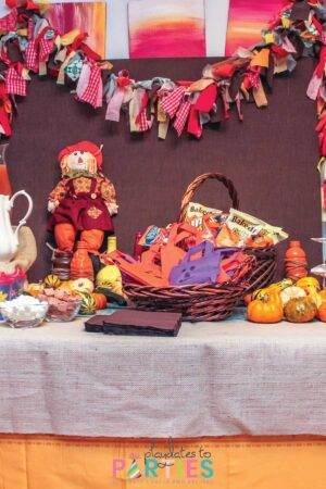 harvest themed halloween party buffet
