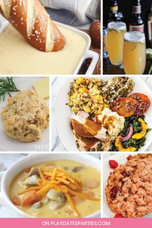collage of 6 Thanksgiving recipes that all use craft beer
