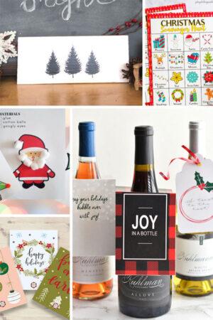 collage of printable Christmas decor, games, and gift tags