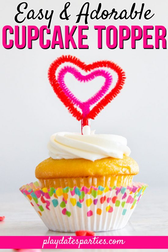 Super Easy Heart Shaped Cupcake Toppers