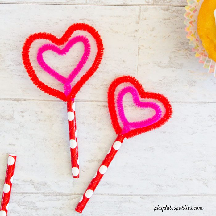 Heart in heart shaped cupcake toppers