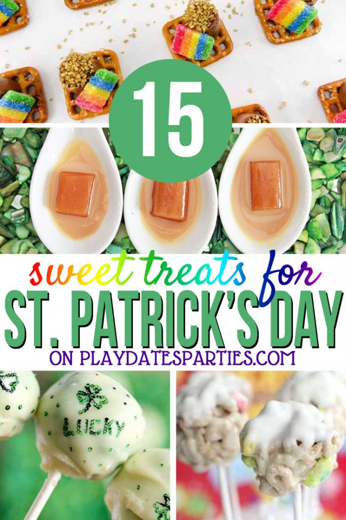 I love making easy St Patrick's Day treats for my kids. And with this list we'll have desserts for days! Even I can make these DIY rainbow pretzels, add green coloring to their drink for a fast snack, or the simple popcorn mix with my crazy schedule. This is going to be the best St Paddy's day ever! #StPaddy #partyfood #green #rainbow