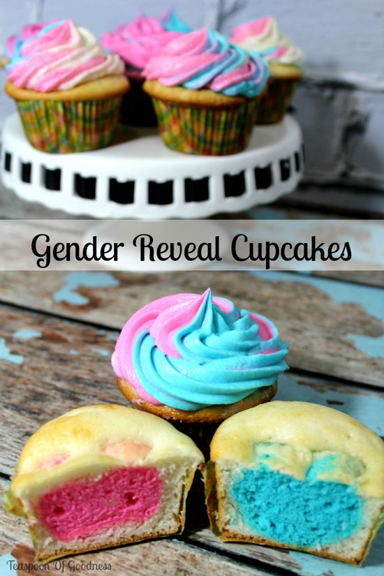 "A picture that says ""gender reveal cupcakes"" with cupcakes filled with blue and pink hearts"