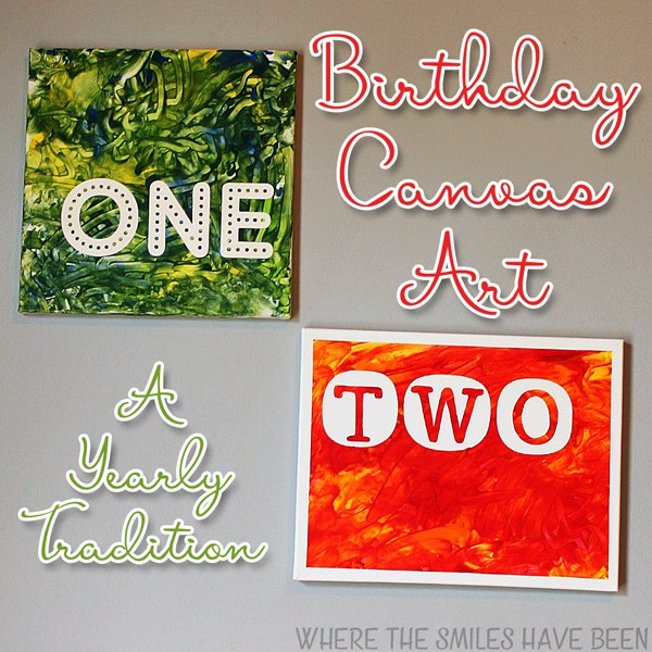 "An image of two canvases with the text: ""Birthday Canvas Art a Yearly Tradition"""