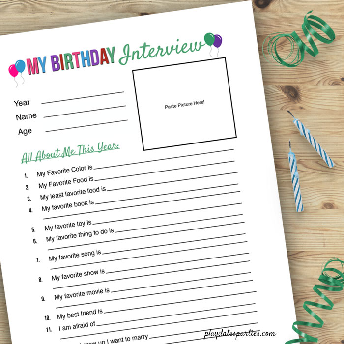 Free Birthday Interview Printable with Green lettering - One of my favorite birthday traditions to do with my kids is to give them a birthday interview. It's so funny to look back and see their answers from age 3 on up. And I can't wait to pull them all together into one awesome scrapbook of their life from toddler to teen. Now you can download your own copy of this free printable template with 12 questions and even a place to put their picture each year! #kids #birthday