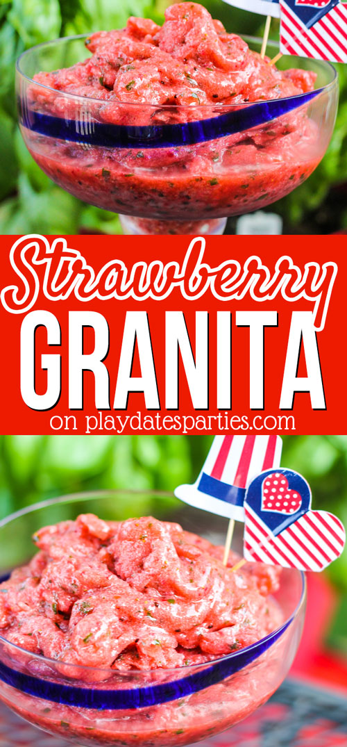 Want an easy treat to cool off this summer? Head over to playdatesparties.com to get the full recipe for delicious strawberry basil granita. Yum! #strawberries #summer #nochurn #dessert #pdpsweets
