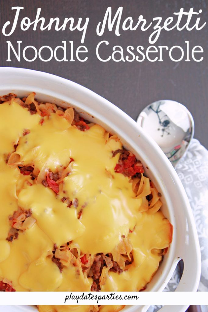 Johnny Marzetti was hands-down one of my favorite comfort foods as a kid. And I'm so glad I got the original recipe my mom used to make for me! Filled with ground beef, egg noodles, and covered with Velveeta cheese, this is definitely in our arsenal of easy casseroles you can make that kids and adults will crave. #recipes #easyrecipes #dinner #casseroles