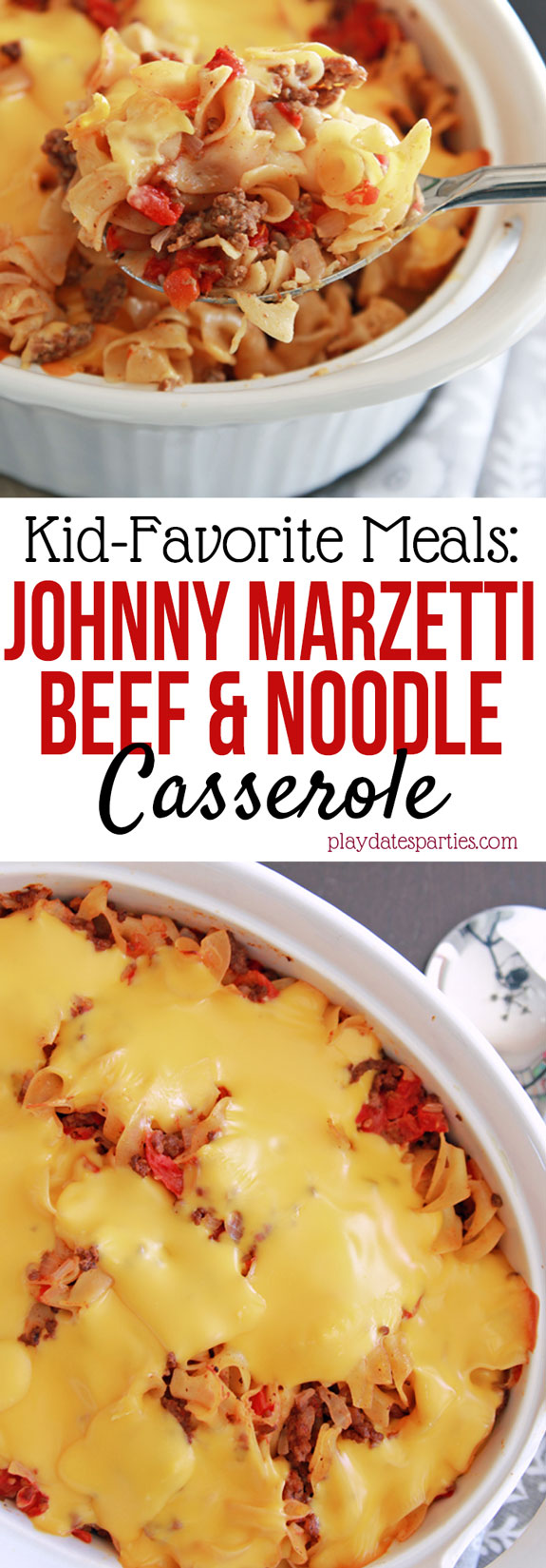 Johnny Marzetti Noodle Casserole is an easy comfort food #recipe that everyone in the #family loves. Filled with ground beef and noodles, and smothered with a cheesy sauce, this is the ultimate in comfort food!