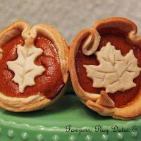 Mini Pumpkin Pies with Leaf Crusts
