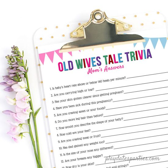 Image of Old Wives Tale Trivia gender reveal party game on a clipboard