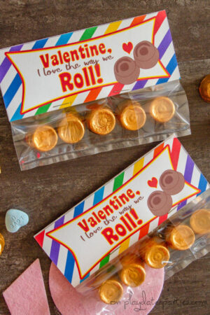 Valentines Treat Bag Toppers for Rolos candy