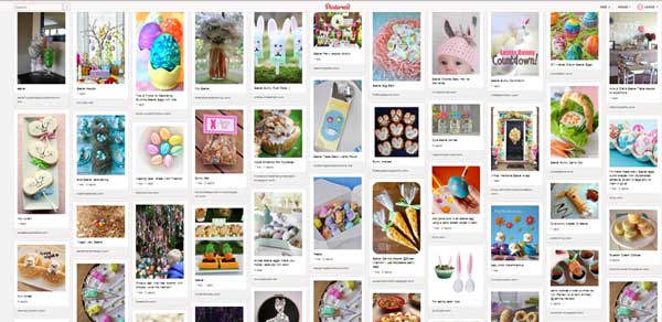 screen capture of Pinterest images for Easter
