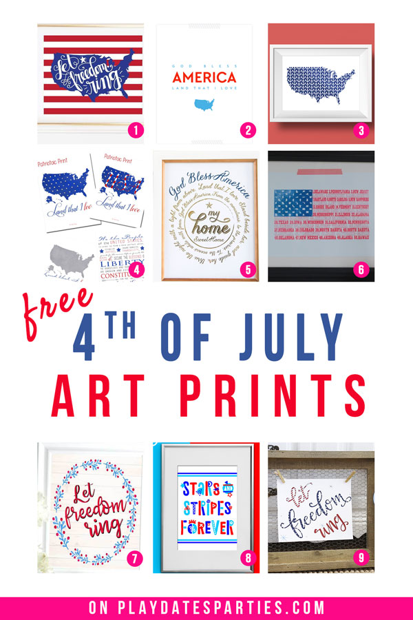 A collage of 9 different patriotic posters and prints with the text free 4th of July art prints