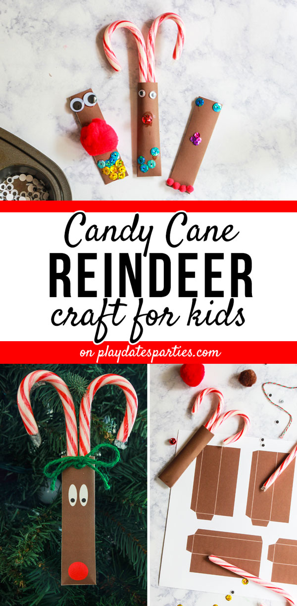 This cute and simple reindeer candy cane craft is made with toddlers and preschool children in mind. Let the kids decorate this free printable with their own unique and creative ideas using whatever cheap craft supplies you already have. Then let them hand out their heartfelt gifts as the most precious homemade treats to give to the classroom. It's the perfect fun Christmas craft for kids to make and it's easy to pull together! #Christmascrafts #kidscrafts #holidays #christmasideas