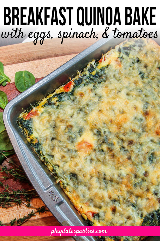 Who doesn't love a good make ahead breakfast casserole for cold mornings? And you can feel good about eating one too, with this simple breakfast quinoa bake with egg, spinach, and tomatoes. Because it's loaded with vegetables and high protein, its a quick and easy (not to mention delicious) way to get a healthy start to your day. #breakfastrecipes #casseroles #quinoa