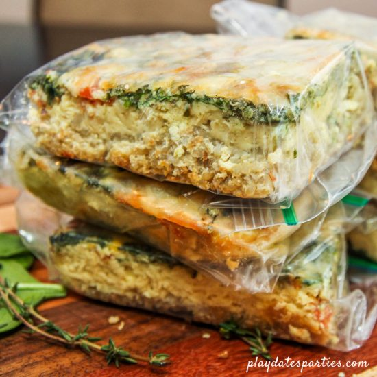 Turn the breakfast quinoa bake into an easy make ahead breakfast by packaging up each portion into baggies.
