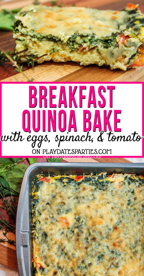Looking for a savory breakfast bake that will help you stay healthy too? Try this easy breakfast quinoa bake with egg, spinach, and tomato. Because the casserole bakes up so well, it turns into make ahead breakfast bars, too. Which means there's no excuses for getting a veggie packed, high protein breakfast for one anymore. #breakfast #recipes #healthyrecipes