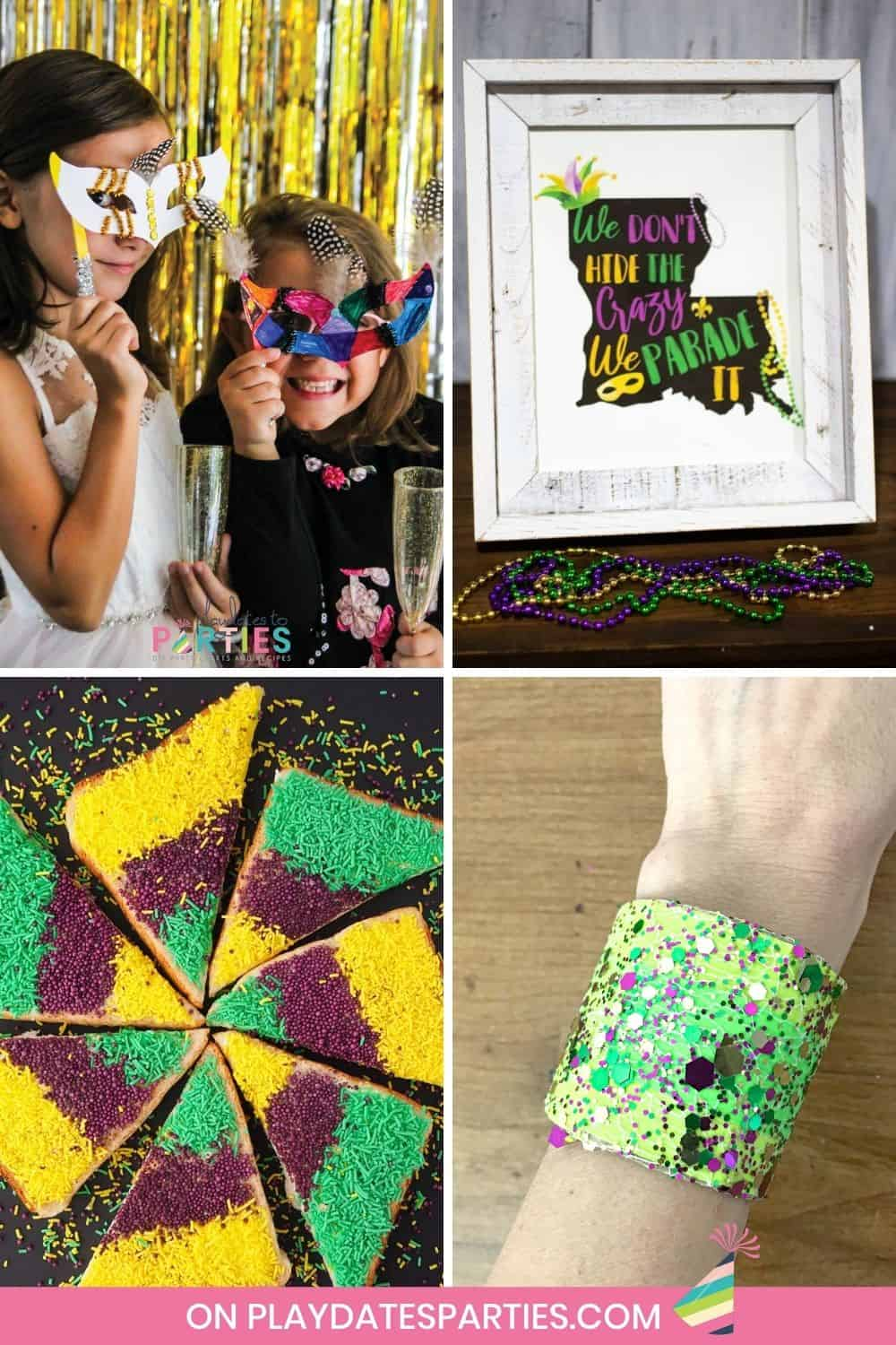 collage of four crafts recipes and decorations for Mardi Gras