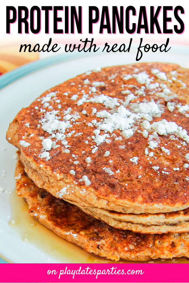 Confession: I hate pancake Saturday. So, if I'm going to dirty dishes and cook for an hour in the morning, it's going to be the best healthy protein pancakes recipe that I can make for my kids and myself. This recipe, made with real foods like banana, cottage cheese, oatmeal, egg white and cinnamon is perfectly delicious. Make a big batch and put them in your freezer for an easy and healthy weekday breakfast. #healthy #pancakes #recipe