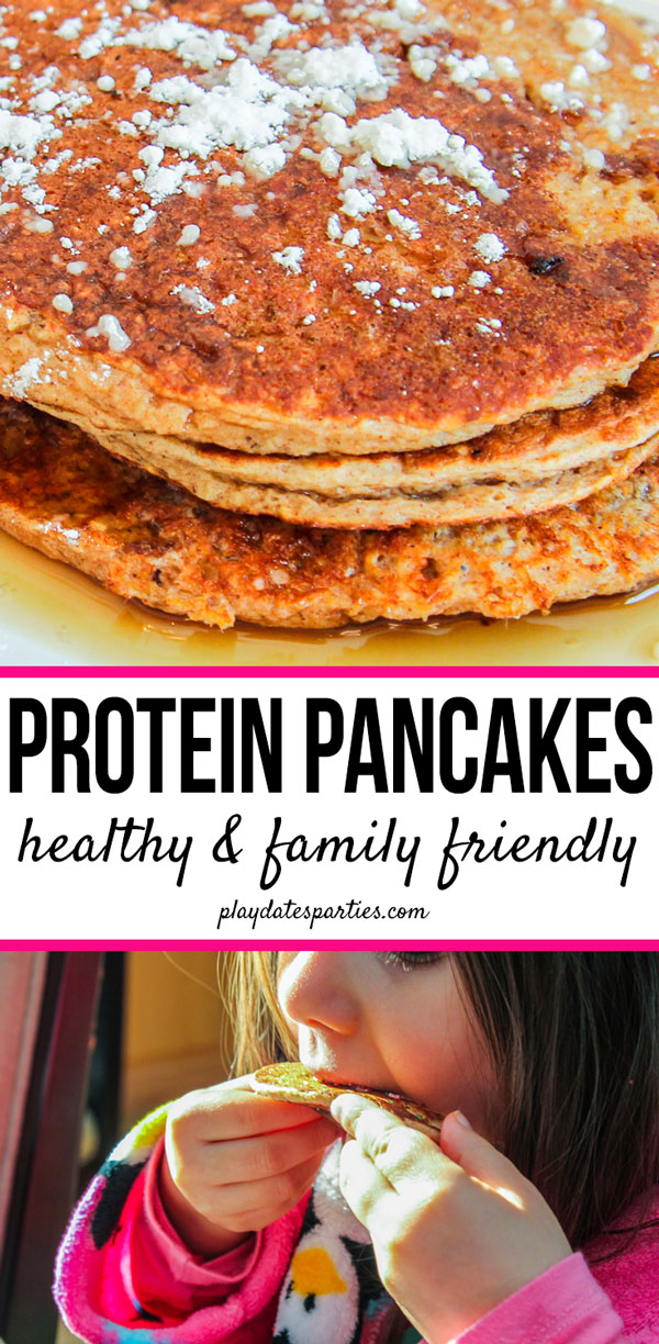 My kids love pancakes, and grabbing a couple from the freezer is such a quick and easy breakfast for school mornings that are so hectic. With make ahead healthy breakfast recipes like these protein pancakes made from whole food like oatmeal, banana, and egg whites, you can feel good about letting your whole family eat them too! Make an freeze a big batch on meal prep day so you have a fast breakfast for kids and the whole family. #healthy #breakfast #recipes