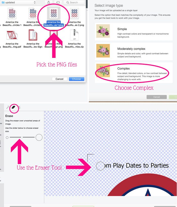 A collage showing the steps for uploading Independence Day printables to Cricut Design Space