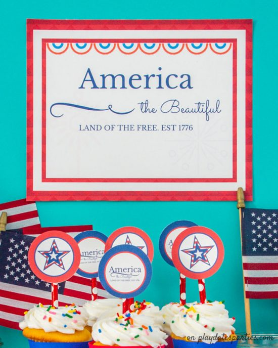 A photo of a printable sign that says America the Beautiful Land of the Free Est 1776