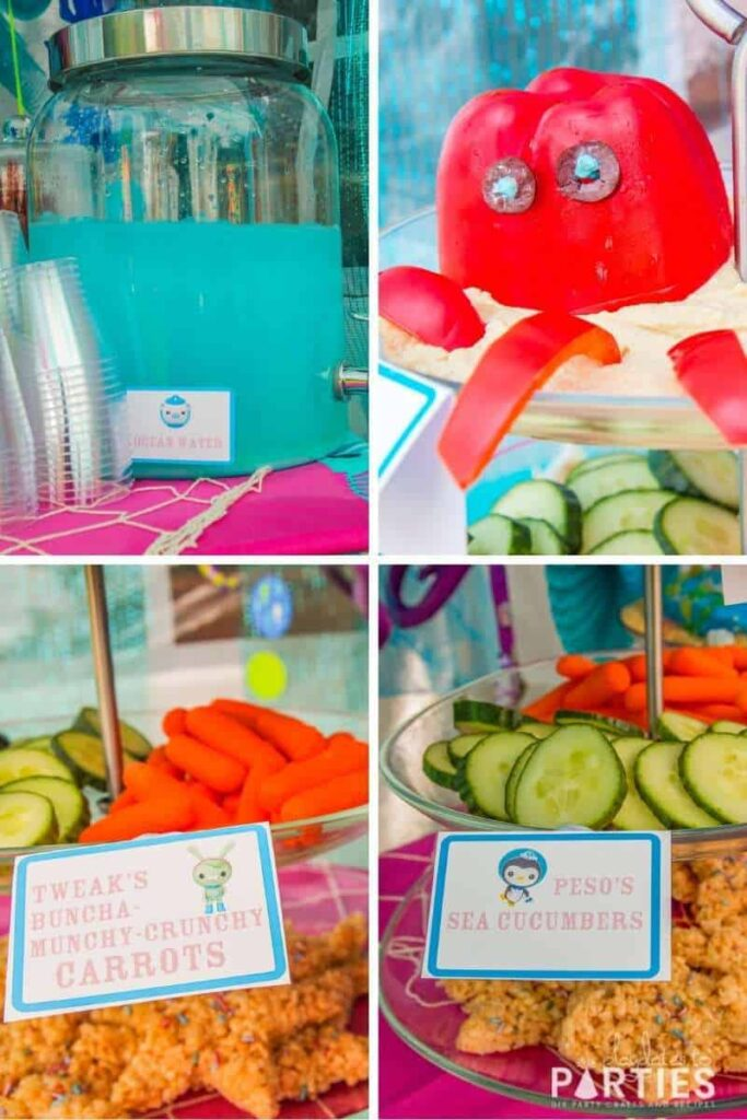 collage of ocean themed party food: ocean water punch, octopus hummus dip, carrots, and vegetables