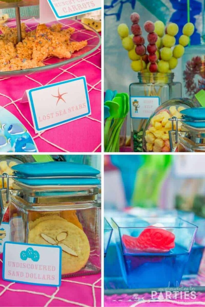 collage of ocean themed party food: sea star rice krispies, frozen grapes kelp forest, sand dollar cookies, and swedish fish jello cups